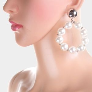Jewelry - Silver and White Pearl Dangle Style Hoop Earrings